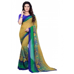 Printed Faux Georgette Green Color Saree