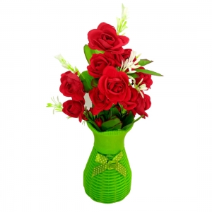 Plastic Vase with Rose bunch Green (1 Piece)