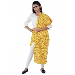 Generic Womens Cotton Mix Straight Duppatta (Yellow, Red)
