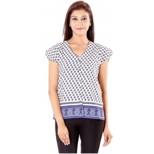Generic Womens Polyester Regular style Top (Blue, Multi, L)