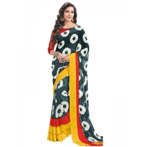 Generic Womens Geogrette Saree with Blouse Digital Printed Saree (Green and Multi, 6.25 Mtr)