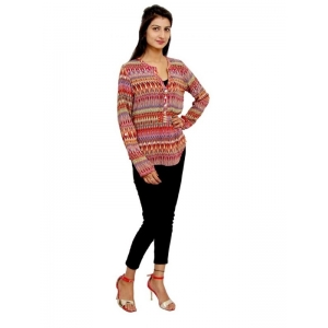 Generic Womens Faux Georgette Straight Top (Red, Multi, M)