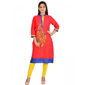 Generic Womens Poly Cotton Printed Kurti (Red, Multi, L)