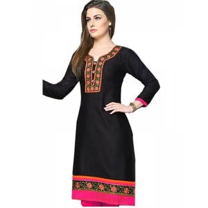 Generic Womens Long, Linen and Cotton Mix Straight Kurti (Black, Pink, L)