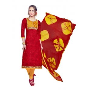 Generic Women's Cotton Salwar Material (Red, 2-2.5mtrs)
