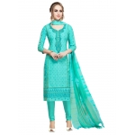 Generic Women's Cotton Salwar Material (Turquoise, 2-2.5mtrs)