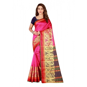 Generic Women's Poly Silk Saree with Blouse (Peach, 5-6 Mtrs)