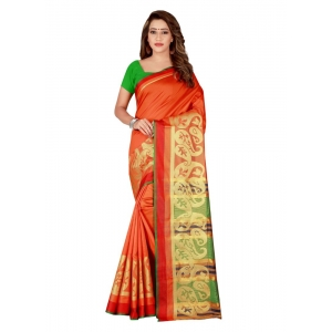 Generic Women's Poly Silk Saree with Blouse (Orange, 5-6 Mtrs)