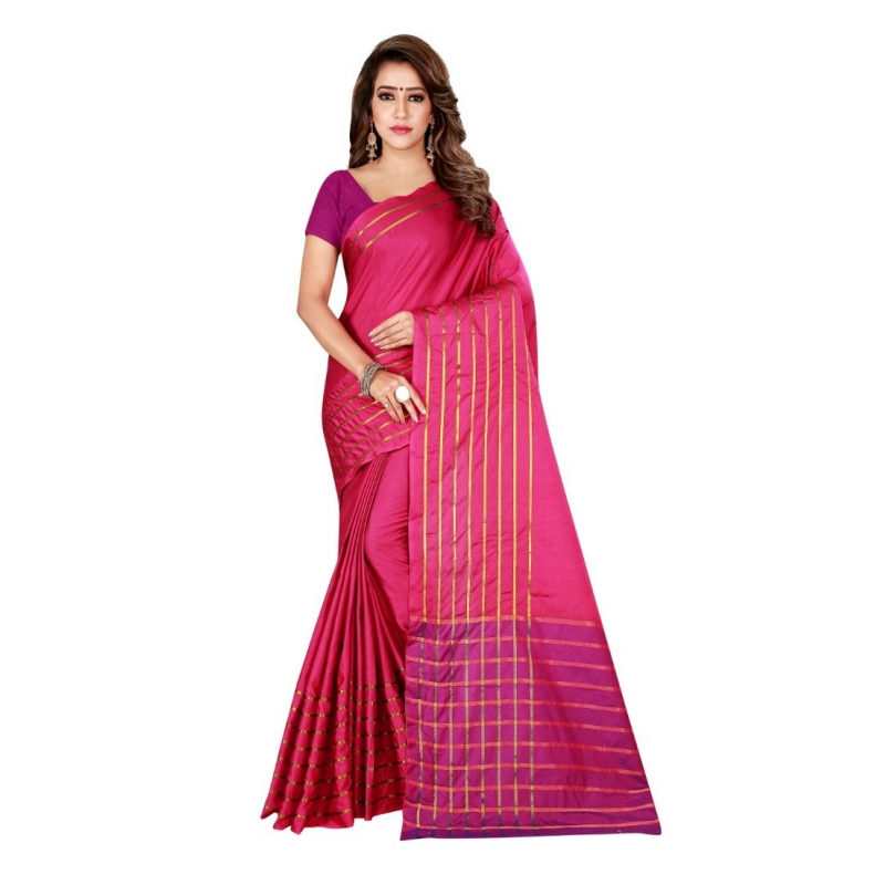 Generic Women's Cotton, Silk Saree with Blouse (Pink, 5-6 Mtrs)