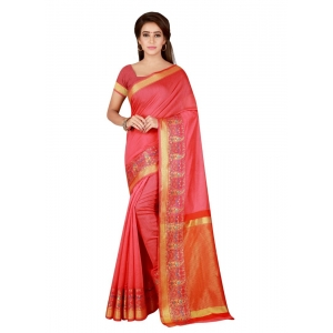 Generic Women's Cotton Saree with Blouse (Peach, 5-6 Mtrs)
