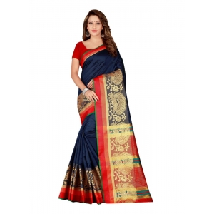 Generic Women's Poly Silk Saree with Blouse (NavyBlue, 5-6 Mtrs)