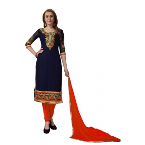 Turvi Women's Georgette Salwar Material (Blue and Orange, 2.25mtrs)