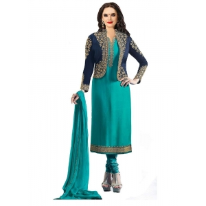 Turvi Women's Georgette Salwar Material (Turquoise Green, 2.25mtrs)
