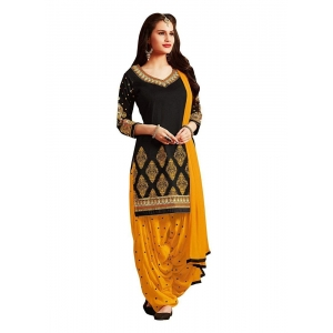Turvi Women's Cotton Salwar Material (Black and Yellow, 2.25mtrs)