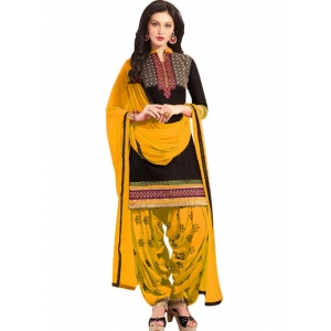 Turvi Women's Cotton Salwar Material (Yellow and Black, 2.25mtrs)