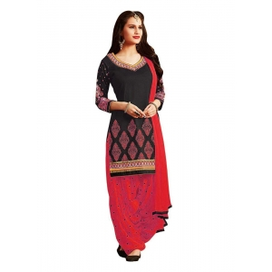 Turvi Women's Cotton Salwar Material (Black and Red, 2.25mtrs)