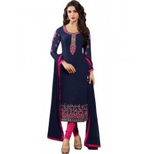 Turvi Women's Georgette Salwar Material (Blue and Pink, 2.25mtrs)