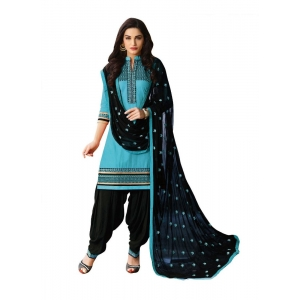 Turvi Women's Cotton Salwar Material (Turquoise, Black, 2.25mtrs)