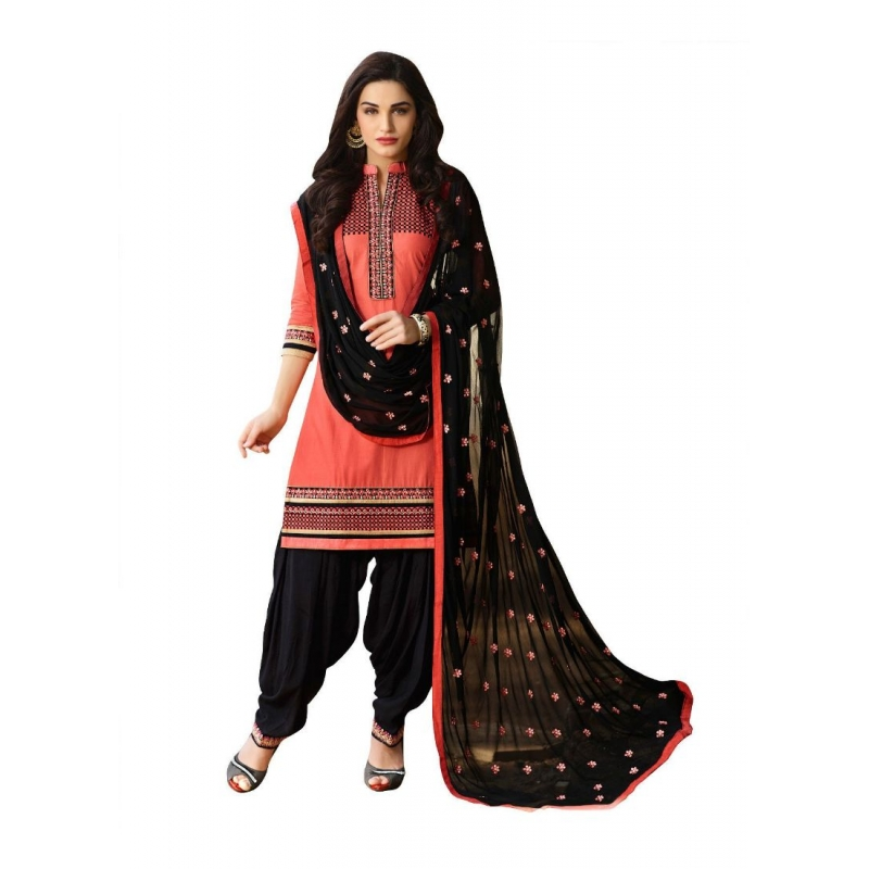 Turvi Women's Cotton Salwar Material Beige and Black, 2.25mtrs)