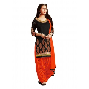 Turvi Women's Cotton Salwar Material (Black and Orange, 2.25mtrs)