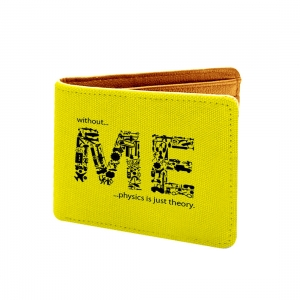 Without Me Design Yellow  Canvas, Artificial Leather Wallet