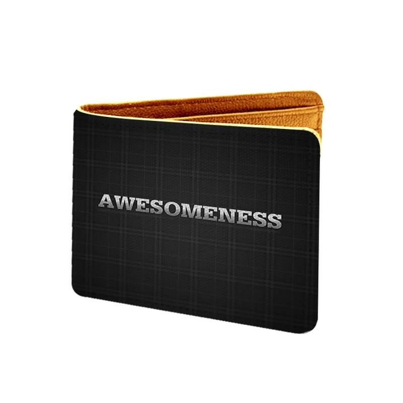 Awesomeness Design Black Canvas, Artificial Leather Wallet