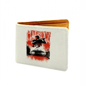 Marmx Design White  and Red Canvas, Artificial Leather Wallet