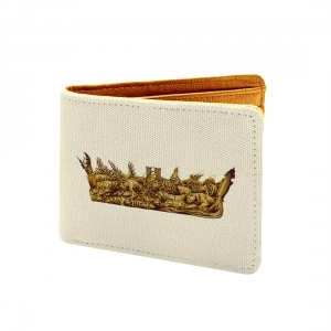 Game Of Thrones Design Light Yellow Canvas, Artificial Leather Wallet