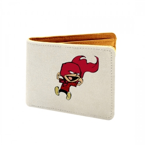 You Cant't Just Turn On Design White Canvas, Artificial Leather Wallet