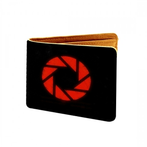 Red Circle  Design Black Canvas, Artificial Leather Wallet