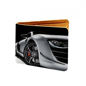 Car Design Black ane grey Canvas, Artificial Leather Wallet