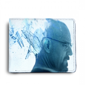 Breaking Bad, Walter White Heisenberg Meth  Design White and Blue Canvas, Artificial Leather Wallet