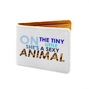 Animal Design White Canvas, Artificial Leather Wallet
