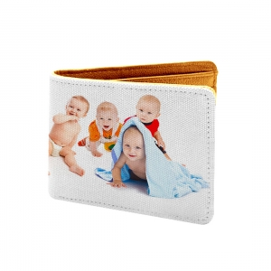 Baby Design White Canvas, Artificial Leather Wallet