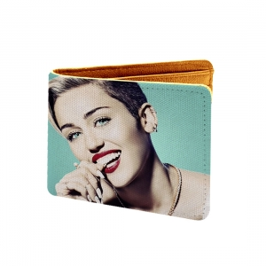 Miley  Design Light Green Canvas, Artificial Leather Wallet