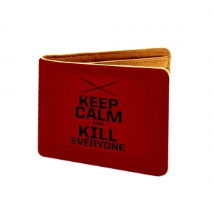 Keep Clam And Kill Everyone Design Red Canvas, Artificial Leather Wallet