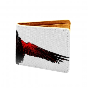 Red Crow Design White and Red Canvas, Artificial Leather Wallet