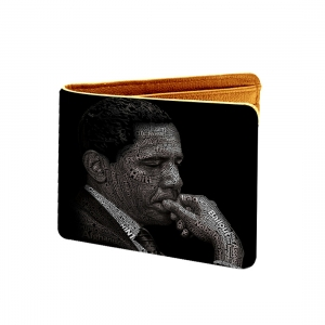 Yes We Can Design Black Canvas, Artificial Leather Wallet