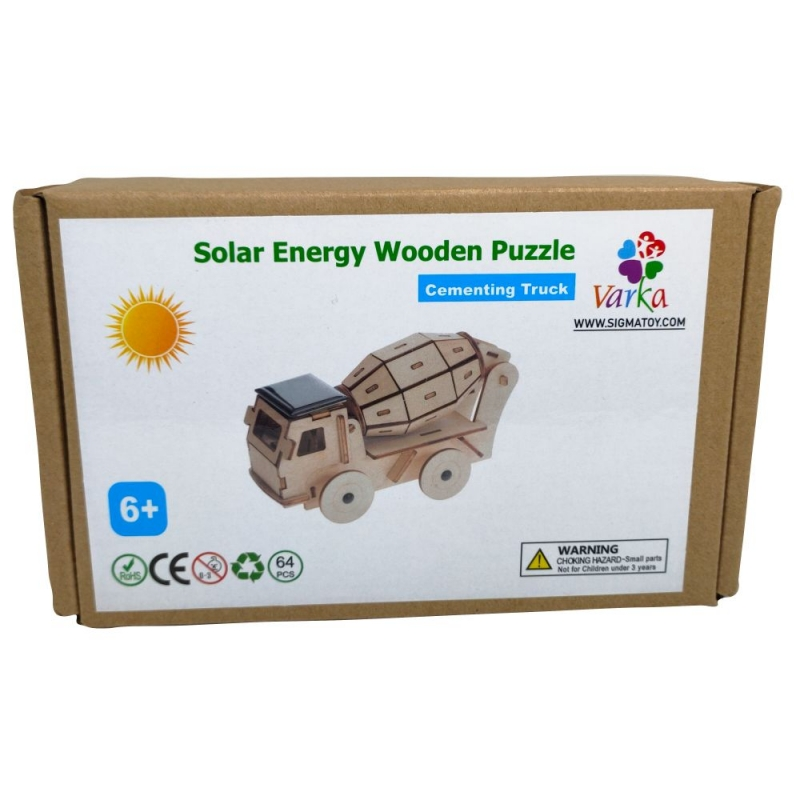 Solar Energy Wooden Puzzle-Cementing Truck