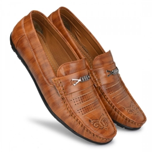 Generic Men Tan Brown Color Leatherette Material  Casual Loafers