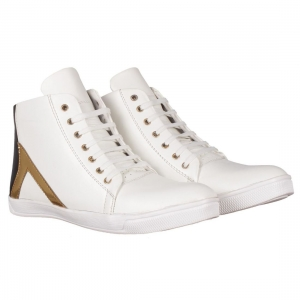 Generic Men's White,Gold,Black Color Leatherette Material  Casual Sneakers
