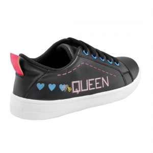 Generic Women Black Color Leatherette Material  Casual Sneakers