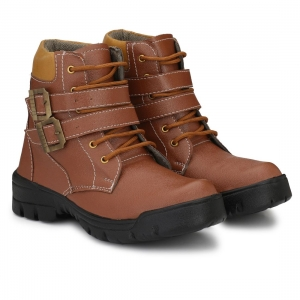 Generic Men Brown Color Leatherette Material  Casual Long Boots