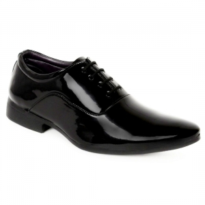 Generic Men's Black Color Patent Leather Material  Casual Formal Shoes