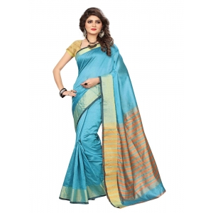 Generic Women's Cotton Silk Saree (Sky Blue, 5-6 Mtrs)