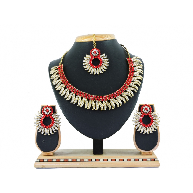Generic Women's Alloy Necklace set (Red)