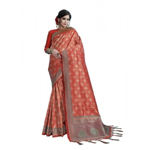 Generic Women's Tanchui Art Silk Saree With Blouse (Maroon, 5-6 Mtrs)