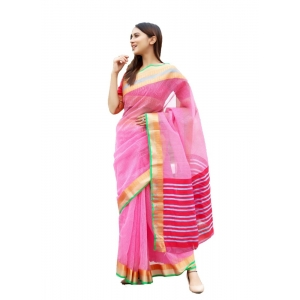 Generic Women's Supernet Art Silk Saree With Blouse (Pink, 5-6 Mtrs)