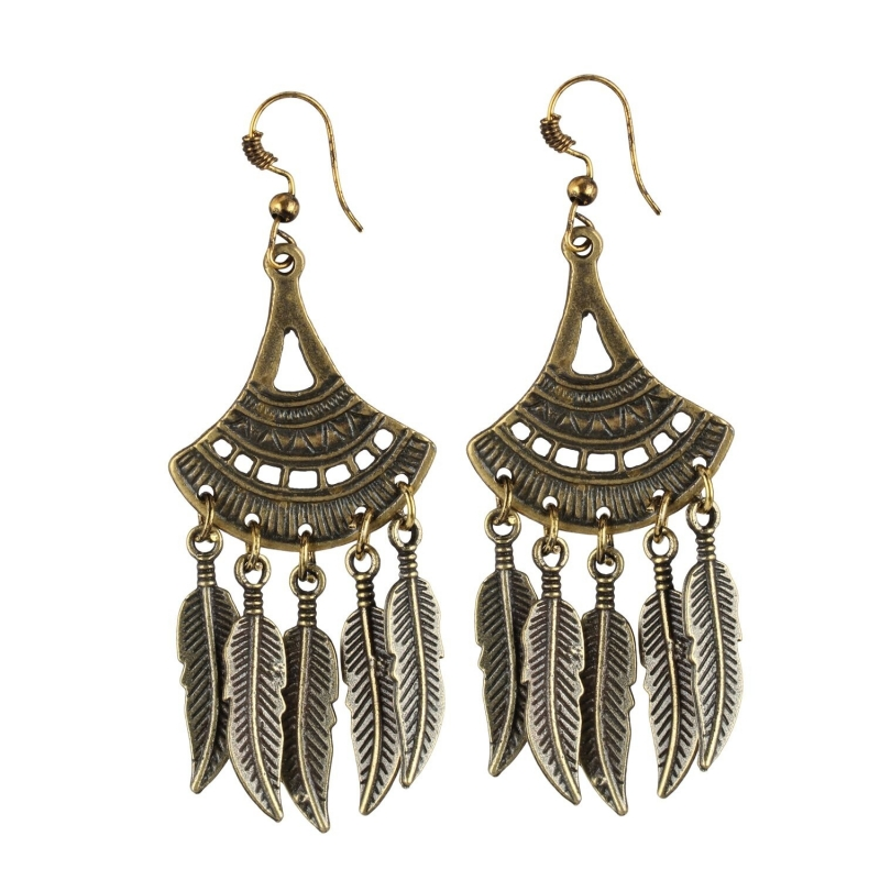 Generic Women's Gold Plated Leaf Design Earrings-Gold