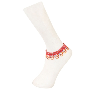 Generic Women's  Fashion Beads  Anklet Payal-Red
